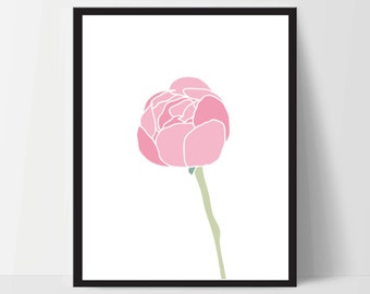 Printable, Pink Peony Flower, Wall Art, Artwork, Home Decor, Modern Print, Print Art, Nature Art, Living Room, Digital Print, 12x16