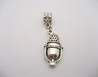 Microphone Charm Silver Microphone Charm European Charms Large Hole Big Hole Bead Jewelry Supplies European Bead Singers Charm