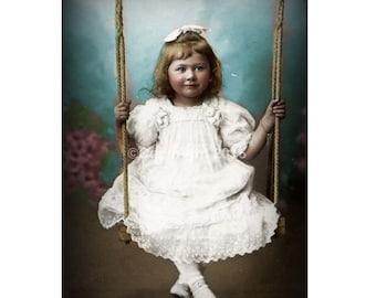 Victorian Child Girl Instant Download On Swing Portrait Vintage Victorian Altered Digital Art Collage Postcard Child Printable Image Digital