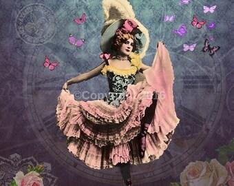 French Dancer Ephemera Vintage Original can Can Dancer Gypsy Printable Digital Collage  Altered Art Scrapbook Page Vintage Instant Do