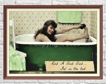 Printable Bathtub Girl Woman Vintage Original Ephemera Altered Art  Digital Bathroom Saying Rub A Dub Print  Scrapbook Page Instant Download