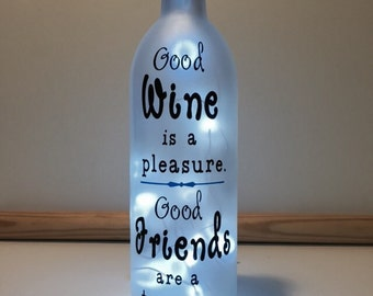 Good friends lighted wine bottle lamp gift friend or couple friends are a treasure