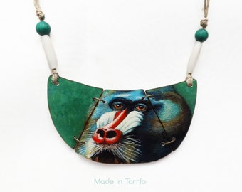Necklace-painting mandrill, handpainted.