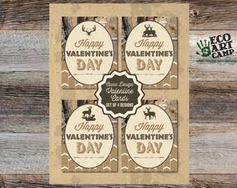 Kids Camo & Deer Themed Valentine's Day Cards, Printable, Set of 4, Instant Download, Boys, Girls, DIY
