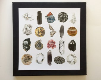 Neutral Nature - Neutral Crystal and Minerals 10x10in Art Print