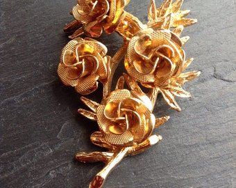 Rose Brooch Vintage Rose Brooch Gold Rose Brooch Rose Jewellery Rose Accessory
