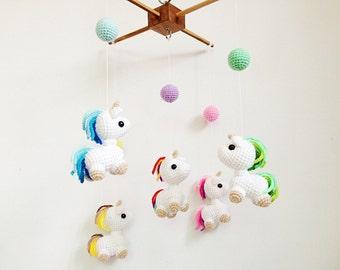 Baby mobile - Amigurumi Baby Unicorn in Wonderland Crib mobile, Unicorn baby mobile, Nursery decor, Unicorn crochet,Unicorn Gift, Baby gift