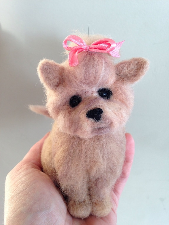 Needle felted dog, felted Yorkie, miniature gift, brown and tan Yorkshire Terrier dog, Yorkie puppy, Tea cup puppy, mother's day gift, OOAK