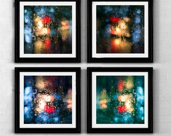 Set of 4 prints square prints free shipping 8x8 5x5 rain art rain prints abstract art prints abstract wallart abstract photograph home decor