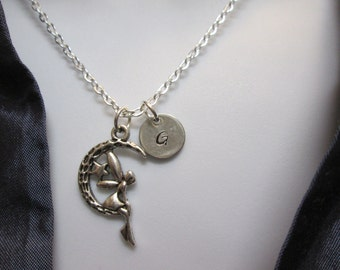 Fairy crescent moon personalized initial handstamped necklace, wish come true necklace # 95-5