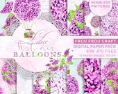 Air Balloons Digital Paper Pack Watercolor Lilac Seamless Pattern Purple Violet Lavender Floral Instant Download Original Baby Girl Romantic