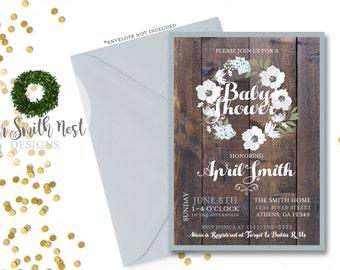 Rustic Wood Baby Shower Invitation DIY PRINTABLE Customizable Digital Prints