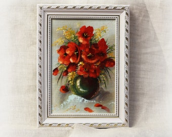 Modern oil painting of flowers Picture as a gift flowers poppies