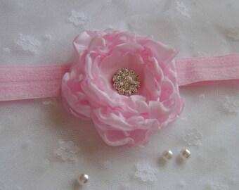 Pretty Pink Flower Headband with Rhinestone centre