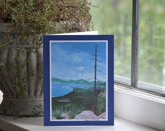 Lake Tahoe Note card, Vista trail,acrylic on canvas print signed, handmade,birthday,thinking of you card