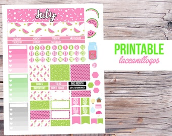 Printable Planner Stickers July Monthly Kit  Month Spread View Watermelon Green Pink Summer Lemonade Goals Functional ChecklistPlanner
