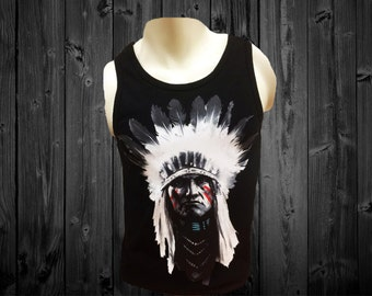 Native American Cheiftain Black Tank-Top