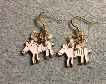Pink and white enamel horse charm dangle earrings adorned with tiny pink and peach Chinese crystal beads.