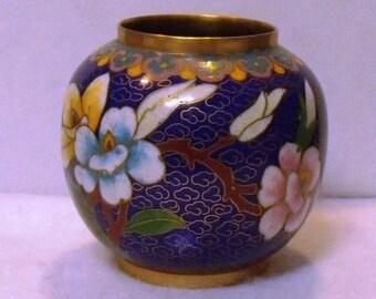 Vintage Miniature Blue Cobalt Cloisonné Chinese Pot