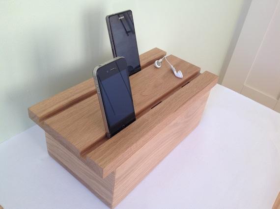 Solid oak multiple docking station for iPhone iPad dock