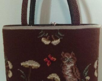 Vintage Owl Needlepoint Handbag/Purse.