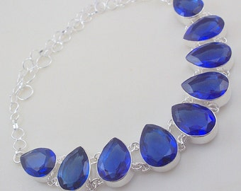 Blue Quartz Stone .925 Silver handmade Necklace Jewelery (Jh-82)