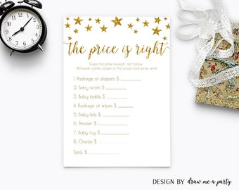 Twinkle Twinkle Little Star The Price Is Right Baby Shower , Gold Baby Shower , Guess The Price Game , Printable, Instant Download