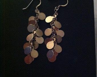 Beautiful solid sterling silver dangle dangly disc earrings dangle earrings