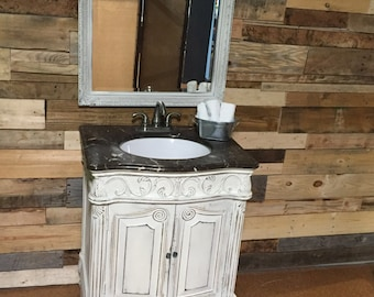 Bathroom Sink Vanity & Mirror with Marble top