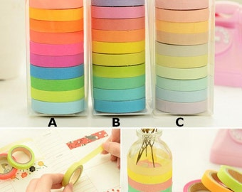 10 Rolls set (7.5mmx5m) Rainbow colors Masking Tape Set - Japanese Washi Tape - Washi tape set