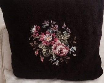 Vintage Large Handmade Needlepoint Burgundy Floral Roses Pillow