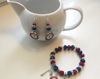 Texas Rangers Charm Bracelet and Earrings