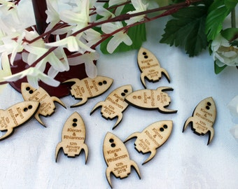 ROCKET SPACESHIP Wooden PERSONALISED wedding Table Confetti Scatter Favours