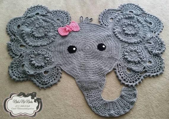 Free Crochet Elephant Rug Pattern : Crochet Elephant Nursery Rug Elephant Elephant Rug Baby