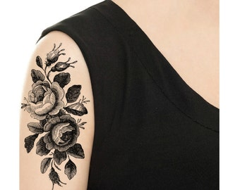 Temporary Tattoo -  Vintage Rose Tattoo - Various Patterns and Sizes