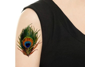 Temporary Tattoo - Colorful Vintage Feather/Ostrich Feathers/Watercolor Feather