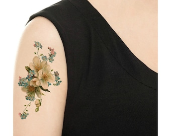 Temporary Tattoo -  Forget-Me-Not Floral Tattoo - Various Sizes