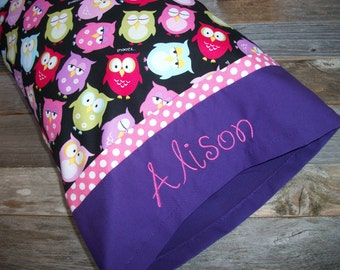 """Personalized Owls Toddler Pillow OR Travel Pillow, 12"""" x 16"""" ***Comes with the pillow!"""