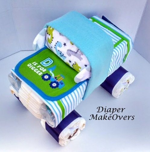 Just Had A Baby Gift Ideas : Diaper cake truck baby shower gift