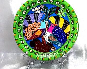 Decorative PLATE, BIRDS(love)  mexican folk art, handmade.