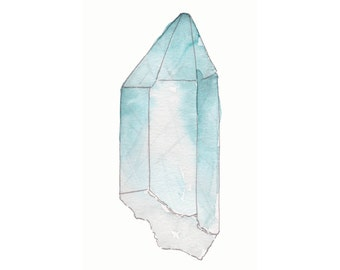 The Ocean Crystal Watercolor Art Print - 8.5x5.5
