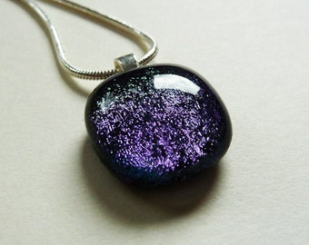 Lavender blue and black fused dichroic glass pendant on silver snake chain violet and purple hues