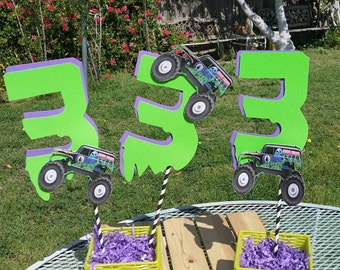 8 inch Grave digger cake topper, grave digger birthday party centerpiece, Monster truck