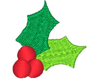 Mini Christmas Holly & Berries Machine Embroidery Design no: JG00029-6