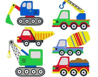 Construction Machine Embroidery Designs, Vehicles, Road Signs, Trucks, Traffic Signs - Set of 12, Instant Download, No: JG00037