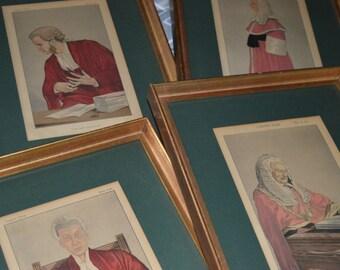 Vanity Fair prints / judges / professionally framed / gold wood / green matting / 1950s / green / Vanity Fair / lawyers office / lawyer/ set