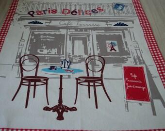 French vintage cotton printed Paris tea towel / torchon  (04368 - 04371)