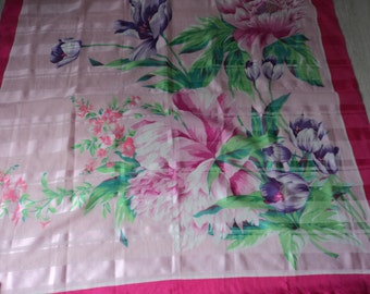 REDUCED - French vintage decorative floral scarf   (02885)
