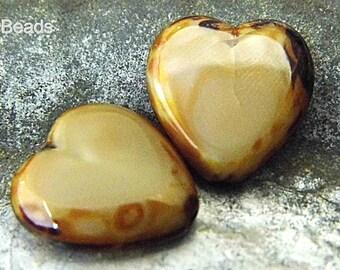 Silky Heart Beads, Czech Beads, sbb79001