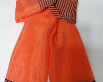 Women's 100% Handwoven Bright Orange/Black Contrasted Lustrous Ethiopian Cotton Scarf